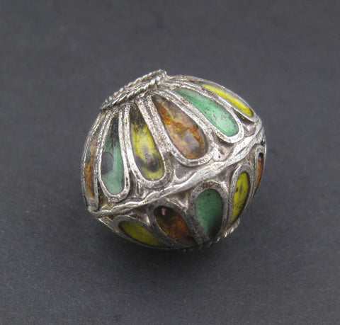 Yellow Mix Multicolor Enamel Berber Bicone Bead - The Bead Chest