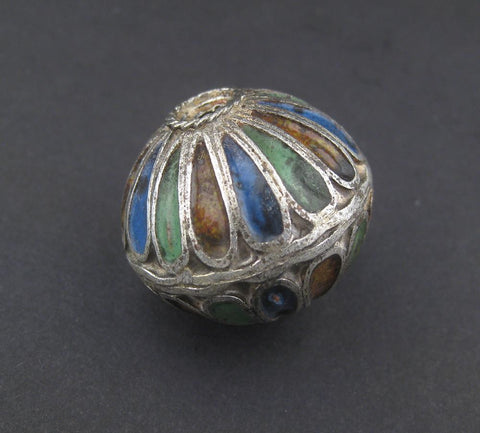 Blue Mix Multicolor Enamel Berber Bicone Bead - The Bead Chest