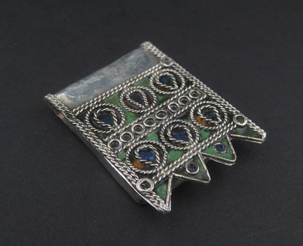 Traditional Enameled Berber Pendant - The Bead Chest