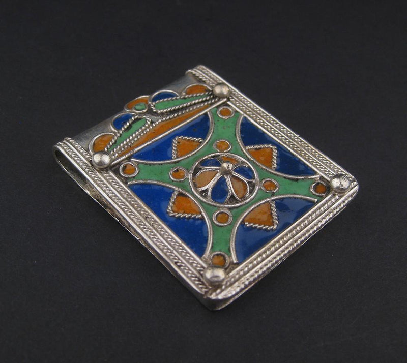 Enameled Diamond Rectangular Berber Pendant - The Bead Chest