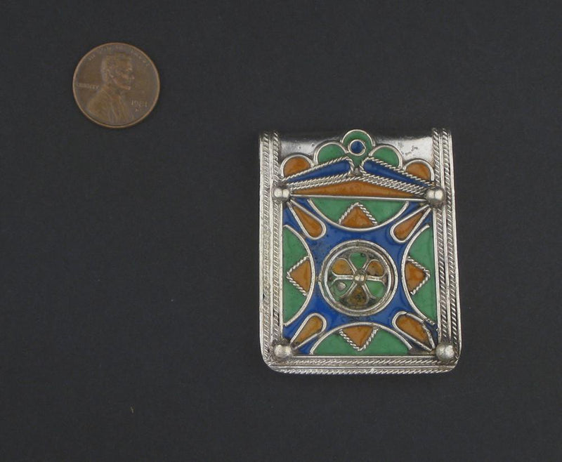 Enameled Blue Diamond Rectangular Berber Pendant - The Bead Chest