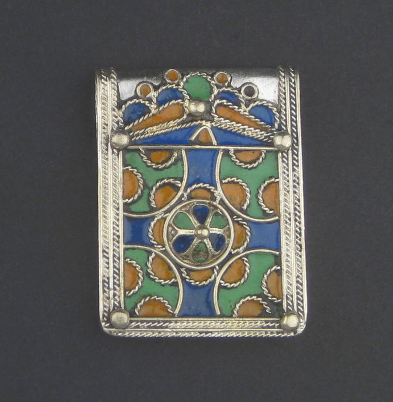 Enameled Cross Rectangular Berber Pendant - The Bead Chest