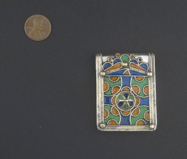 Enameled Cross Rectangular Berber Pendant