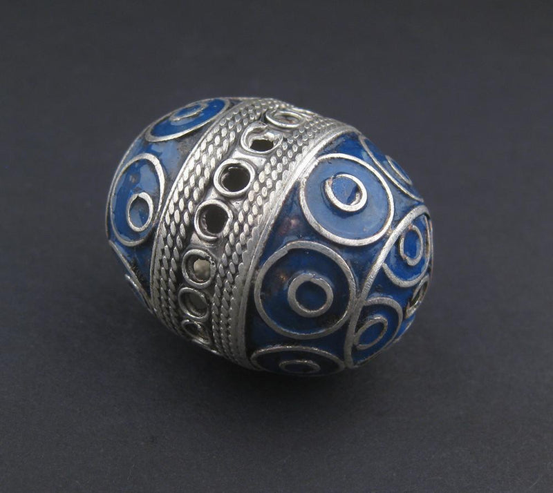 Double Blue Artisanal Enamel-Inlaid Berber Bead Pendant - The Bead Chest