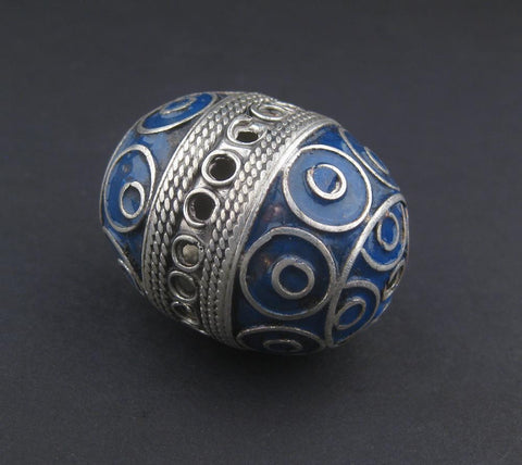 Image of Double Blue Artisanal Enamel-Inlaid Berber Bead Pendant - The Bead Chest