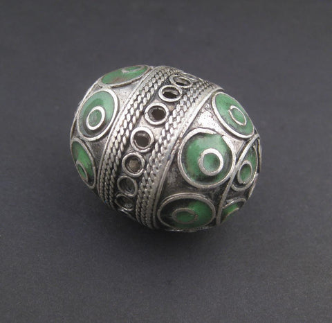 Green Artisanal Enamel-Inlaid Berber Bead Pendant - The Bead Chest