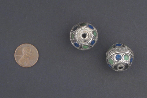 Blue-Green Enamel Berber Beads (Set of 2) - The Bead Chest