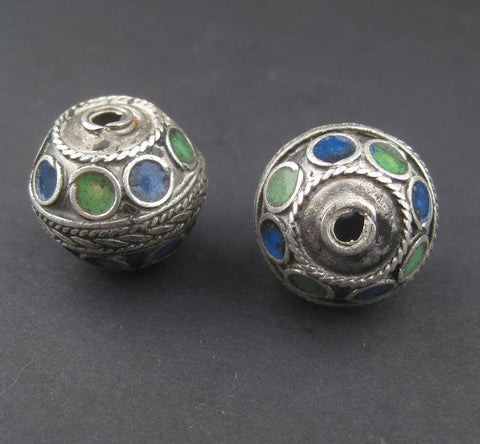 Image of Blue-Green Enamel Berber Beads (Set of 2) - The Bead Chest