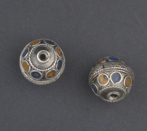 Blue-Orange Enamel Berber Beads (Set of 2) - The Bead Chest