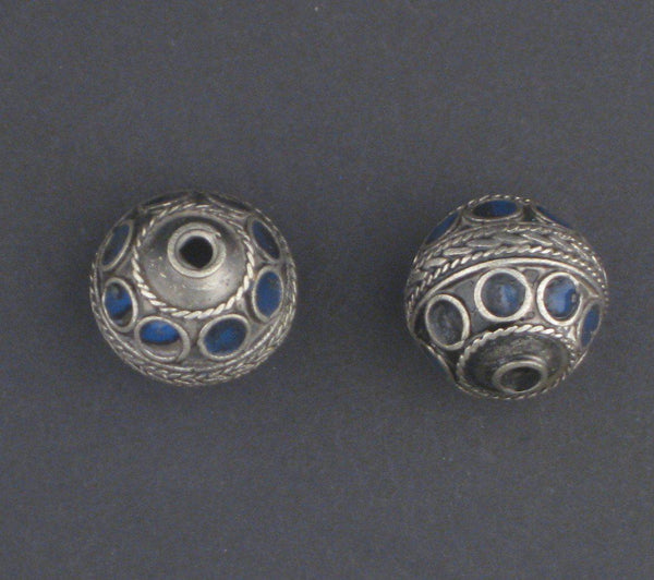 Blue Enamel Decorative Berber Beads (Set of 2)