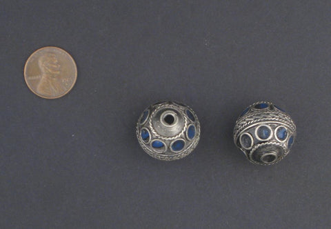 Blue Enamel Decorative Berber Beads (Set of 2) - The Bead Chest