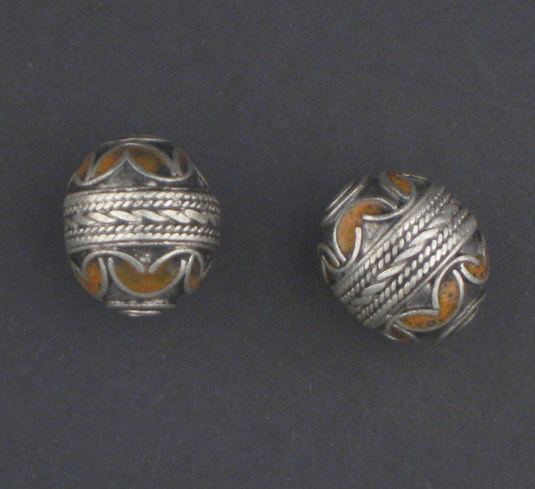 Orange Enamel Berber Bead (Set of 2)