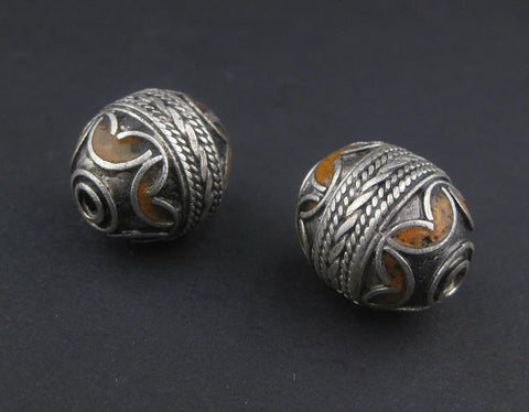 Orange Enamel Berber Bead (Set of 2) - The Bead Chest