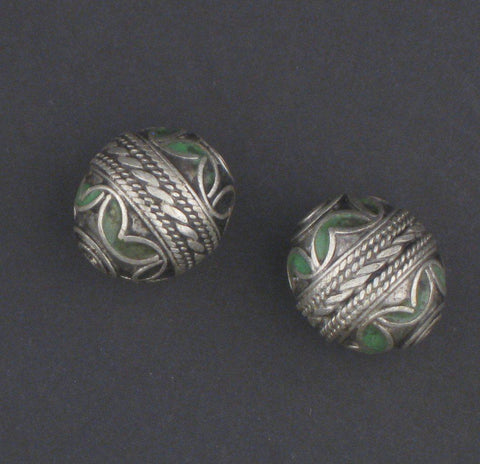 Green Enamel Berber Bead (Set of 2) - The Bead Chest