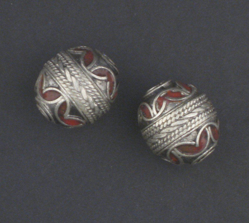 Red Enamel Berber Bead (Set of 2) - The Bead Chest