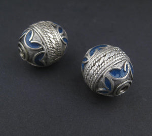 Blue Enamel Berber Bead (Set of 2) - The Bead Chest