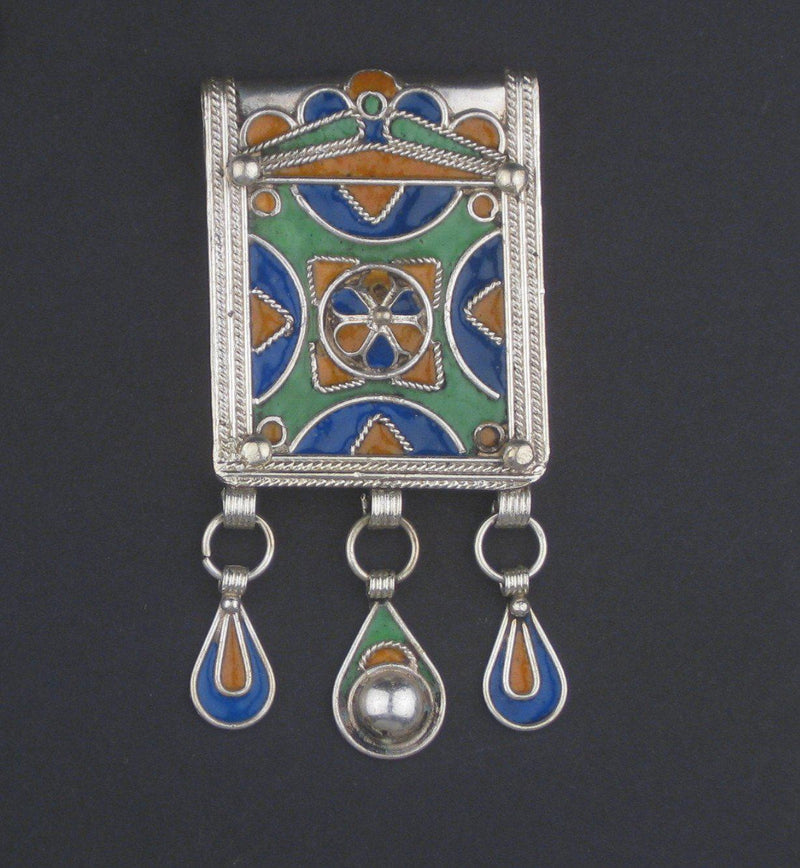 Fancy Enameled Berber Pendant w/ Dangles - The Bead Chest