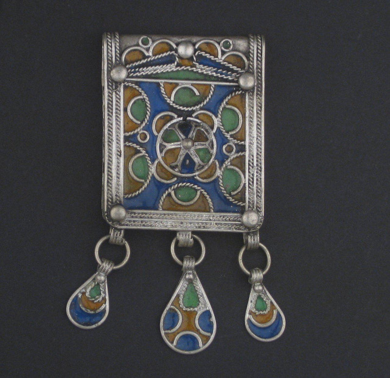 Multicolor Enameled Berber Pendant w/ Dangles - The Bead Chest