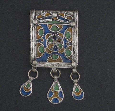 Image of Multicolor Enameled Berber Pendant w/ Dangles - The Bead Chest