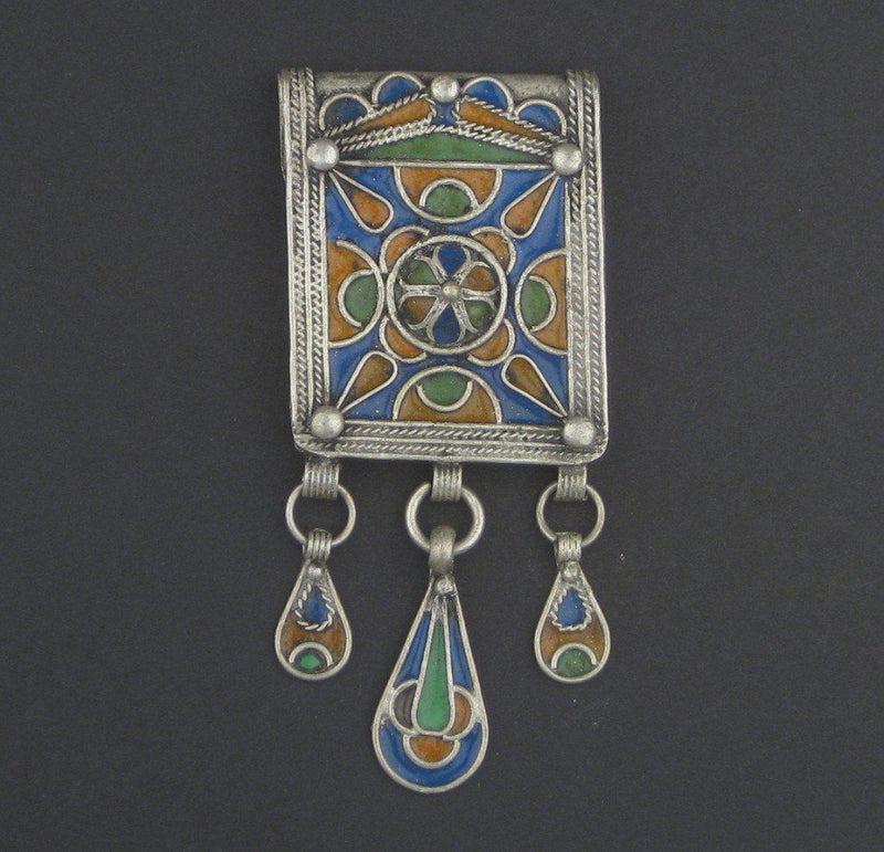 Traditional Enamel Berber Pendant w/ Dangles - The Bead Chest