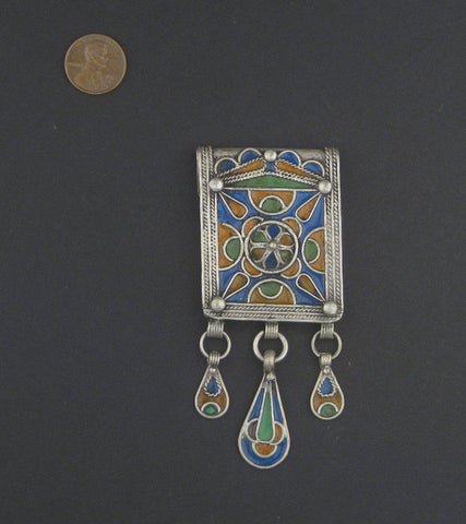 Image of Traditional Enamel Berber Pendant w/ Dangles - The Bead Chest