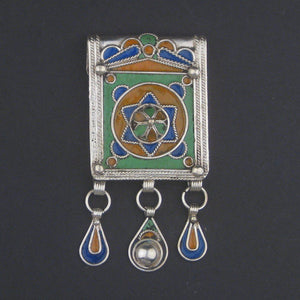 Enamel Star of David Jewish Berber Pendant w/ Dangles - The Bead Chest