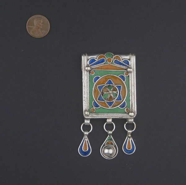 Enamel Star of David Jewish Berber Pendant w/ Dangles