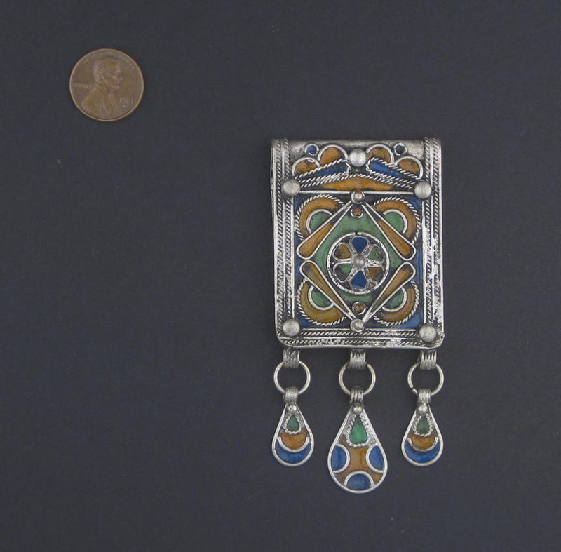 Unique Enamel Berber Pendant w/ Dangles - The Bead Chest