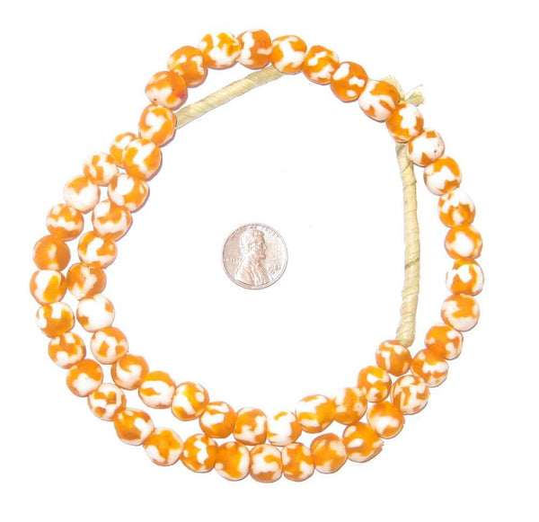 Pumpkin Orange Fused Recycled Glass Beads (10mm)