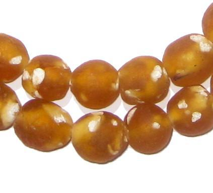 Orange Fused Recycled Glass Beads (14mm) - The Bead Chest
