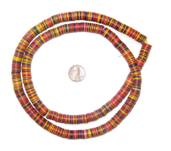 Vintage African Medley Vinyl Phono Record Beads (10-12mm)