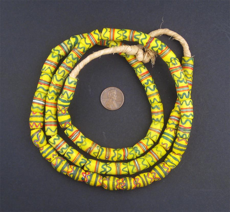 Old Fancy Multicolor Yellow Venetian Trade Beads - The Bead Chest