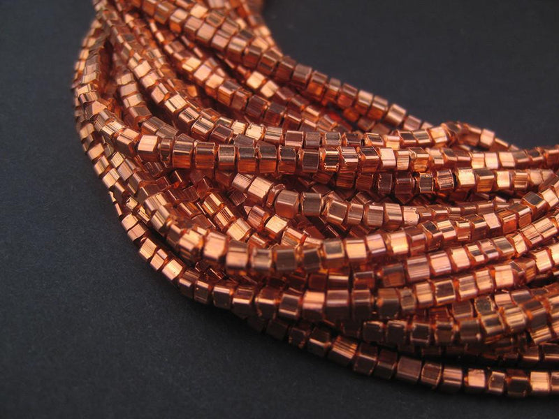 Copper Metal Mini-Cube Beads - The Bead Chest