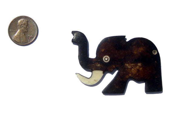 African Elephant Batik Bone Pendant - The Bead Chest