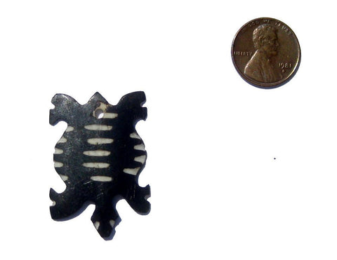 Striped Tortoise Batik Bone Animal Pendant - The Bead Chest