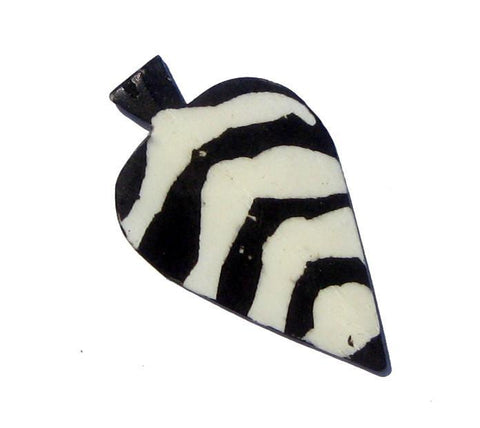 White Zebra Batik Bone Arrow Pendant - The Bead Chest