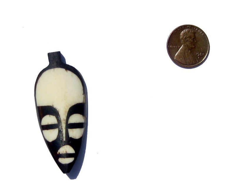 Traditional Mask Batik Bone Pendant - The Bead Chest