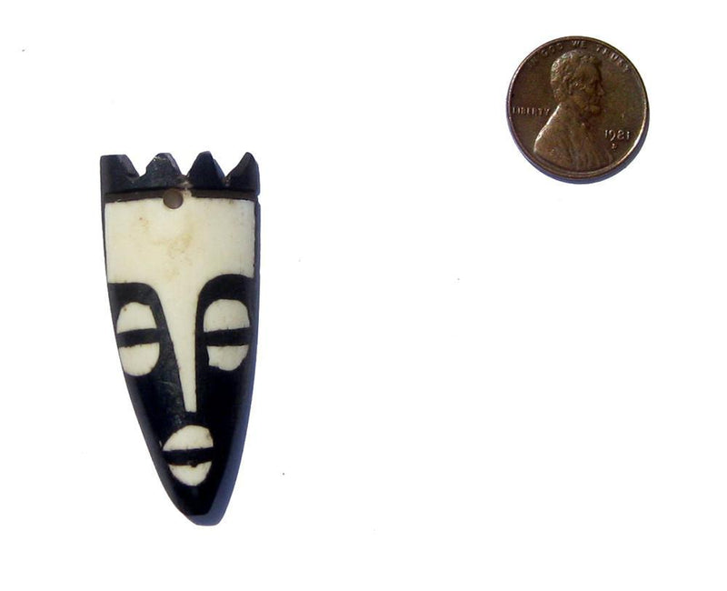 Crowned Mask Batik Bone Pendant - The Bead Chest