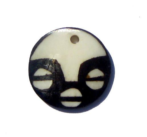Round Mask Batik Bone Pendant - The Bead Chest