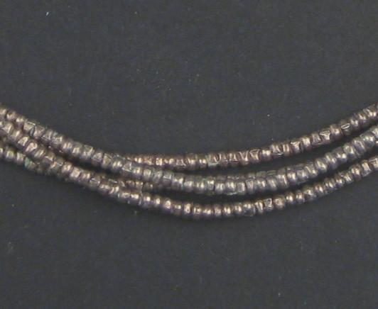Vintage Silver Heishi Ethiopian Beads (2mm) - The Bead Chest