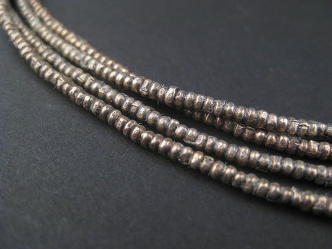 Image of Vintage Silver Heishi Ethiopian Beads (2mm) - The Bead Chest