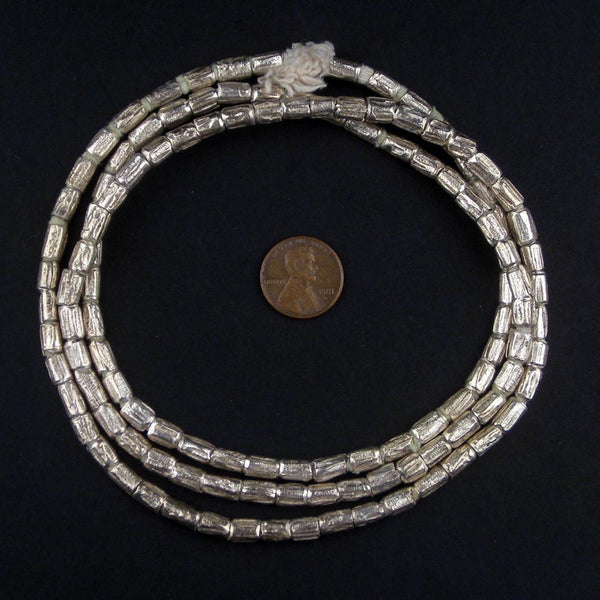 Silver Ethiopian Scratch Beads (6x4mm)