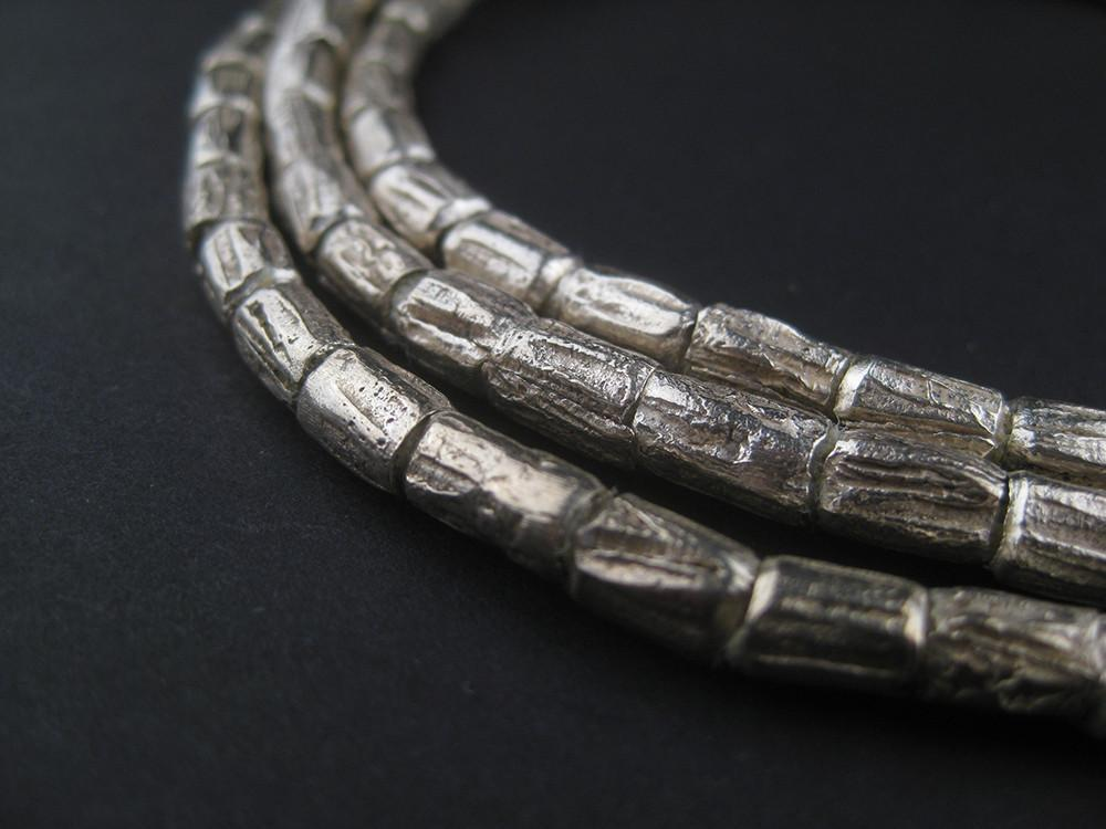 Silver Ethiopian Scratch Beads (6x4mm) - The Bead Chest