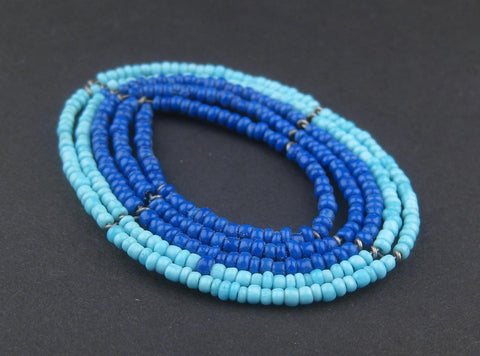 Image of Ocean Blue Oval Maasai Beaded Pendant - The Bead Chest
