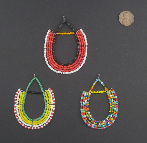 Unique Maasai Beaded Pendants (Set of 3)