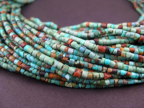 Image of Dark Turquoise Tiny Heishi Beads (2mm) - The Bead Chest