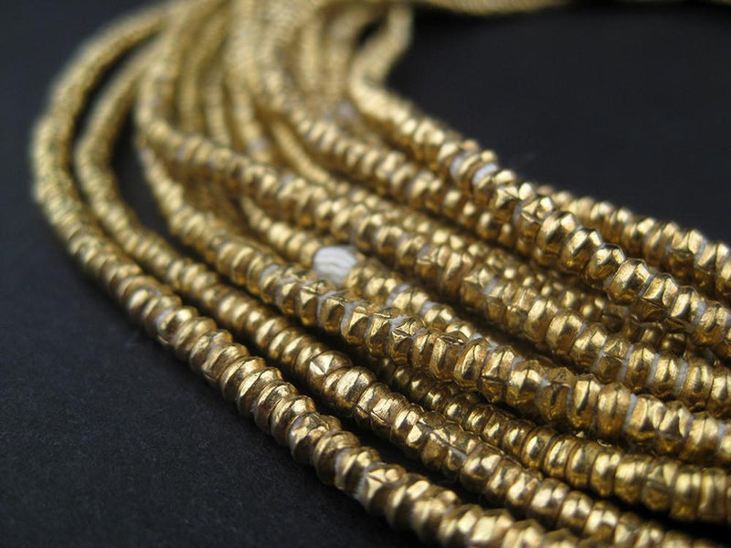 Brass Heishi Ethiopian Beads (2.5-3mm) - The Bead Chest