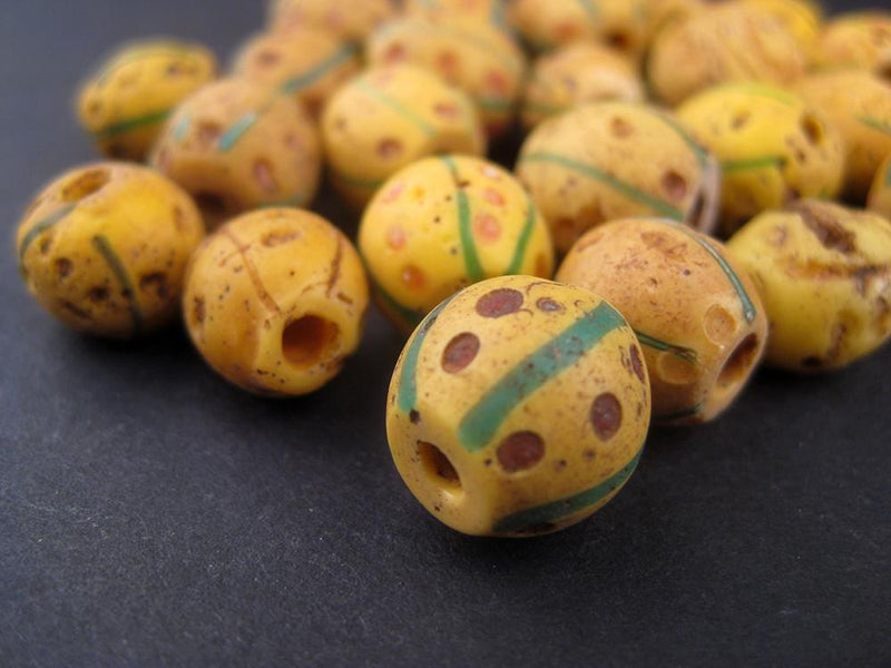 AWAITING REVIEW: Antique Ethiopian Yellow Venetian African Trade Beads (Loose Bead) - The Bead Chest