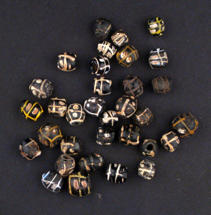 AWAITING REVIEW: Antique Black White Stripe Venetian Good Beads - The Bead Chest
