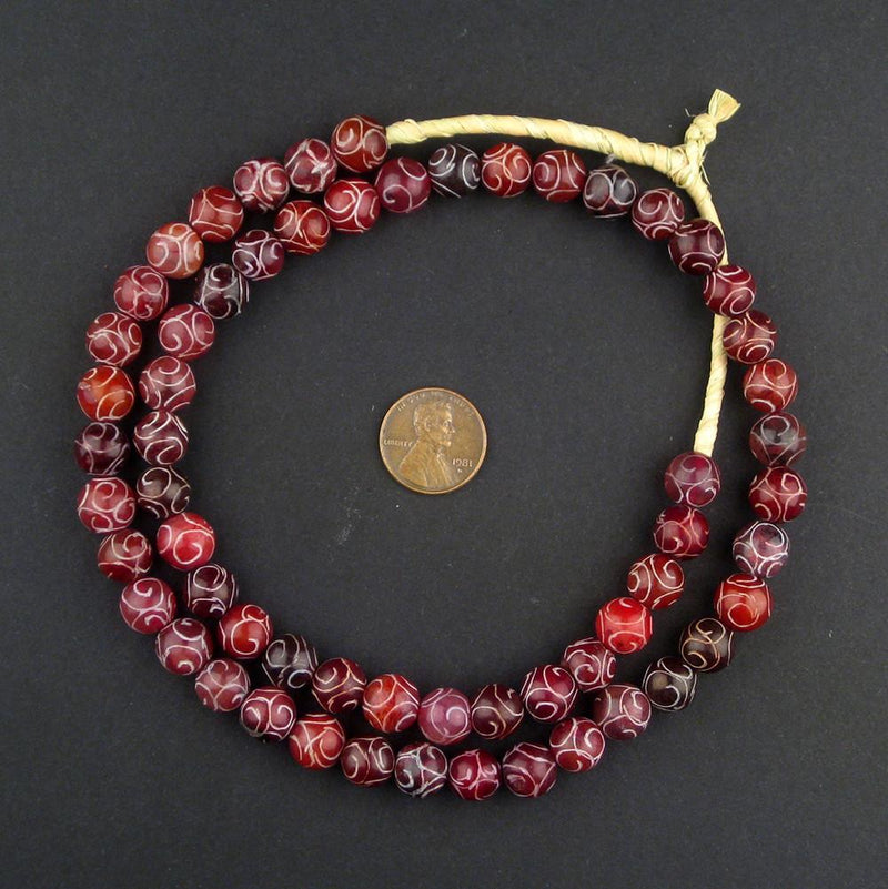 Translucent Red Patterned Stone Beads - The Bead Chest